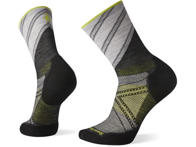 Smartwool PhD Run Light Elite Pattern Crew Socks, zwart/grijs